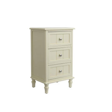 Factory White Finish 3 Drawers End Table night stand